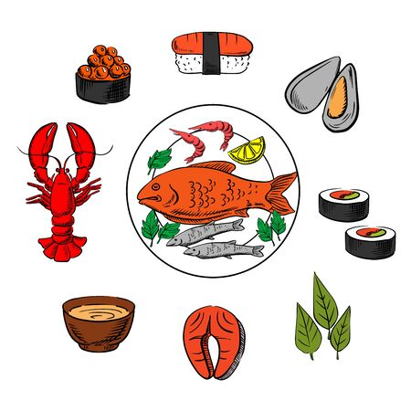 condiment: Seafood, fish and condiment elements with caviar and sushi, mussels and seaweed, red fish, salmon, sauce and lobster Illustration