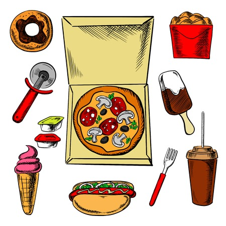 fried: Snack food and drink icons with box of fried chicken, sauce cup surrounded by ice cream, donut, soda, hot dog and croissant