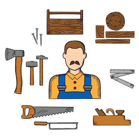 大工のオーバー オール、ハンマー、斧、弓、ハンドソーと木製ツールボックス爪として木材・大工道具 moustached 男は折り畳み式のルールとジャックの平面を持つ職業要素 ベクターイラストレーション