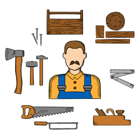 toolbox: Carpenter profession elements with moustached man in overalls, timber and carpentry tools as hammers and axe, nails and wooden toolbox, handsaw and hacksaw, folding rule and jack plane Illustration