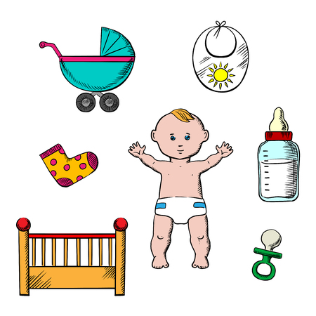 happy family isolated: Colorful childish design with a cute little baby in a nappy encircled by a cot, crib and pushchair, booties and bib, bottle and dummy Illustration