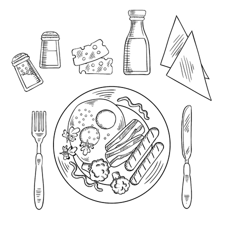 Tasty cooked dinner on a plate with eggs, bacon, sausage and broccoli with cutlery, condiments, sauces and napkins Illustration