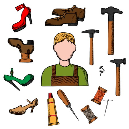 awl: Shoemaker profession concept with icons of shoemaker with awl, heels, hammer tool, glue, nails and shoes