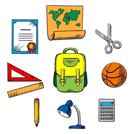 Szkoła i edukacja ikony obiektów z plecakiem, piłki do koszykówki, lampy, linijka, ołówek, kalkulator, kuli ziemskiej, nożyczki, mapa i dyplom