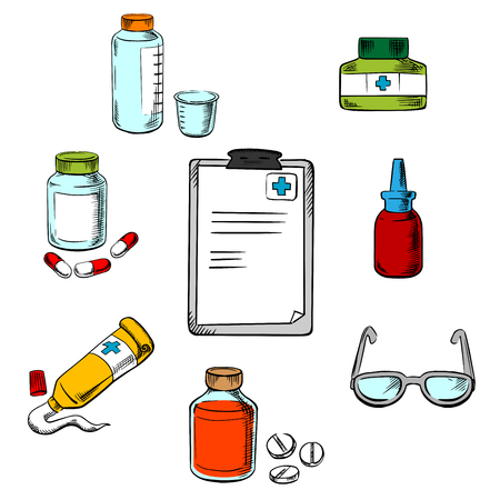 dosage: Prescription and medical icons of clipboard  drugs and pills, ointment, dosage and liquid medication, dropper and glasses