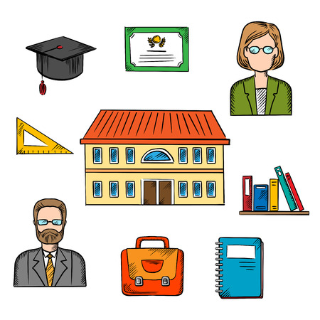 people on background: School education vector design with a school building surrounded by male and female teachers, books, briefcase, graduation hat, tablet, notebook and school building