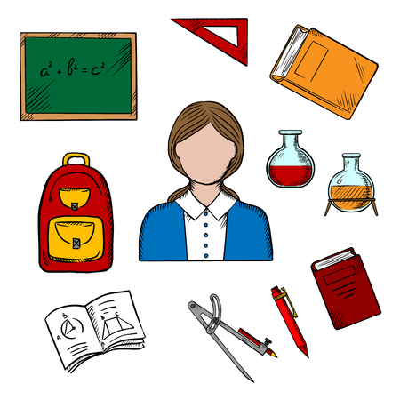 profession: Teacher profession concept with woman encircled by blackboard with chalk formula, books and pen, laboratory flasks and school bag, exercise book and triangle ruler Illustration