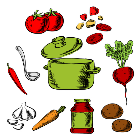 soup pot: Recipe of tasty vegetarian soup with cooking pot and ladle surrounded by carrot, potato, beetroot, tomato, garlic and pepper vegetables and spices Illustration