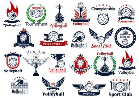 Voleibol deporte iconos y símbolos del juego. Incluyendo muchos elementos decorativos como bola, red y un silbato, corona de laurel y las alas, el fuego y el escudo, trofeo de la copa, la corona y la llama del fuego
