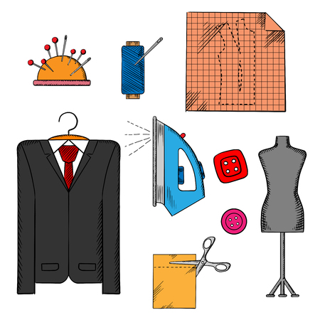 Iron Man: Tailor tools, cloth and accessories icons with man costume on a hanger, mannequin, cloth with scissors, iron and thread spool, needles and buttons Illustration