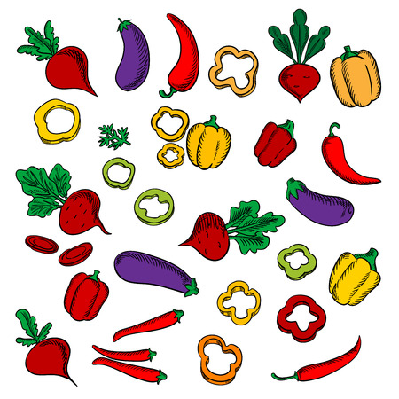 Beets with lush haulms, chili peppers, eggplants, sliced and whole red, orange, yellow bell peppers vegetables