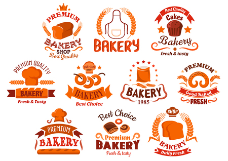 pastries: Bakery and pastry shop icons with decorative elements of bread, dessert, cereal ears, cakes and pretzel, dough and chef toque, ribbons and banners