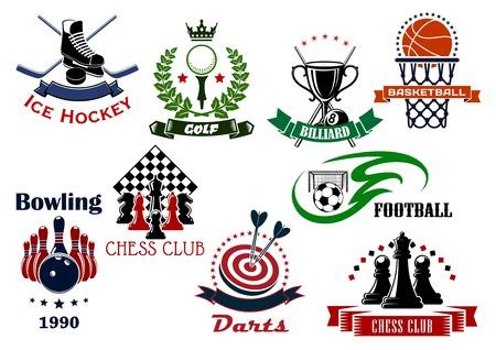 heraldic symbols: Soccer, basketball, ice hockey, golf, darts, bowling, chess and billiards sport game items, trophies and heraldic symbols. Vector illustration