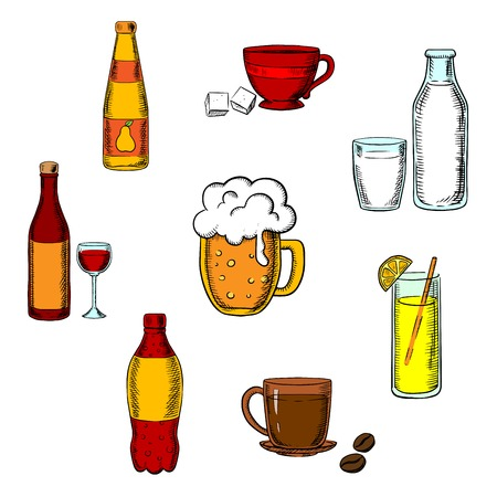 Bebidas, alcohol y bebidas iconos de una botella de vino de vidrio, cerveza, café, té, leche y botella de vidrio, jugo de naranja y una bebida de soda suave