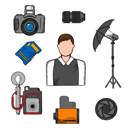 profesiones: El fotógrafo iconos profesión con el hombre elegante y tarjeta de memoria, rollo de película de cámara y lente, obturador, cámaras digitales modernas y retro, iluminación paraguas en el trípode