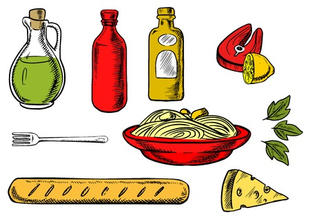 basil: Italian pasta food with traditional italian spaghetti,  sauce and basil encircled by bottles of olive oil, tomato and mustard sauces, fork, cheese, ciabatta bread and salmon fish with lemon Illustration
