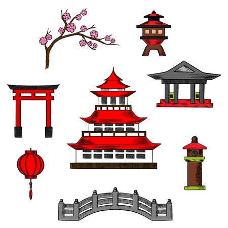 Japan travel and culture icons of traditional japanese pagoda with red roof surrounded by sakura blossoms, torii gate, paper lantern, columns, temple and bridge
