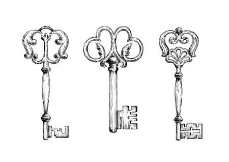 vintage scrolls: Medieval ornamental vintage keys composed with swirl elements and victorian leaf scrolls Illustration
