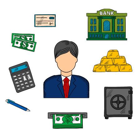 Banker beroep en financiële iconen met man in elegante kostuum en stropdas onder dollarbiljetten, gestapelde goudstaven en bankcheque, bankgebouw en rekenmachine, pen, een geldautomaat en een kluisje