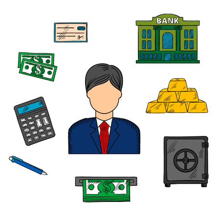 Banker profession and financial icons with man in elegant costume and necktie among dollar bills, stacked gold bars and bank check, bank building and calculator, pen, ATM and safe