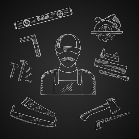 serrucho: Carpenter y toolbox tiza iconos con el martillo, archivo, hacha, clavos, sierra de mano, sierra para metales, regla, avi�n y el nivel de medici�n en la pizarra