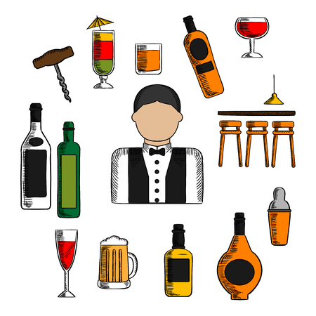 bar counter: Bartender profession icons with bar counter, alcohol bottles and shaker, corkscrew and cocktails, beer tankard and wine glass, barman in uniform with bow tie Illustration