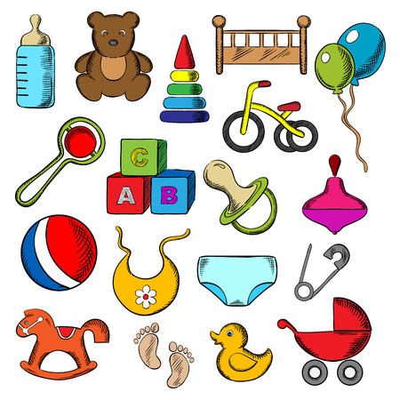 Baby, childish and childhood icons set with blue and black flat icons of toys, diaper, bottle, pacifier, rattle, stroller, cubes, ball, bed, bib, bicycle and rocking horse Illustration