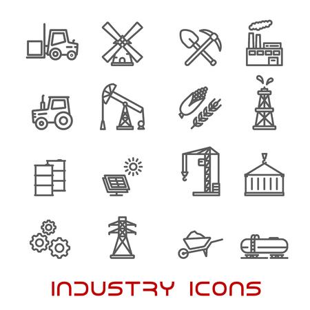 radiacion solar: Iconos de la industria y la ecolog�a de l�nea delgada con la bomba de aceite y el barril, refiner�a, un tractor, el ma�z, el trigo, la radiaci�n, el panel solar, engranajes, combustible y carretillas elevadoras, l�mpara y una pala, molino de viento y la electricidad Vectores