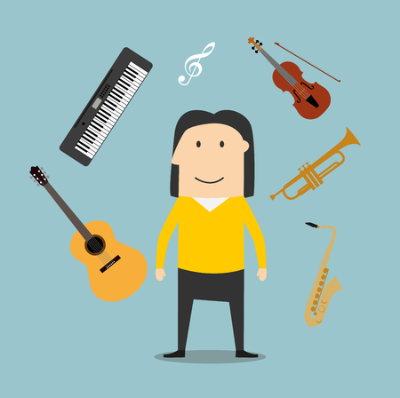 synthesizer: Musician profession icons with man surrounded by electric guitar and trumpet, violin and saxophone, treble clef and synthesizer musical instruments Illustration