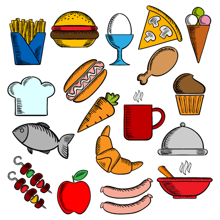 food and drinks: Food and drinks flat icons set with pizza