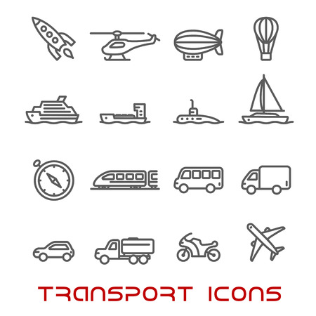 Transportation thin line icons set with car