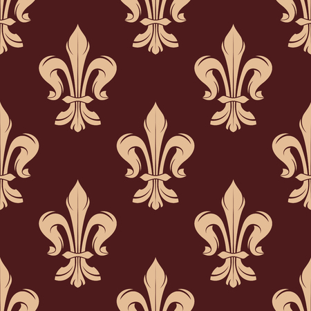 royal french lily symbols: Beige and brown floral seamless pattern with french fleur-de-lis elements on dark brown background. For wallpaper and interior design