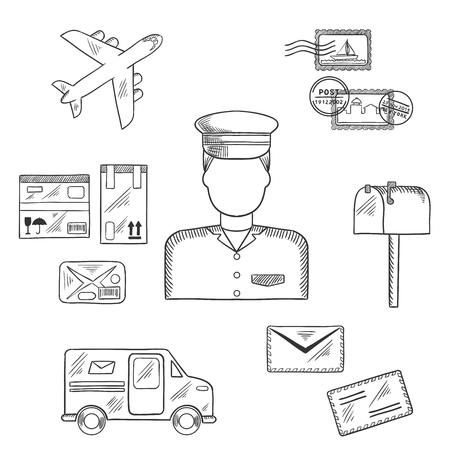 letterbox: Postal sketch icons around a postman with postage stamps and letterbox, packages and van, airplane and letters. Postman profession concept Illustration