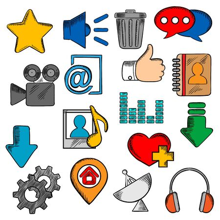 playlist: colorful social media icons with chat speech bubble and e-mail, load and thumb up, map pin and home page, favorite star and heart, video and contacts, playlist and equalizer, trash and gear, headphones and speaker