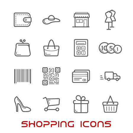 Shopping and retail thin line icons with shopping carts, basket and bags, credit card and wallet, money, delivery, barcode and store, qr code and gift box, calculator and shoes 일러스트