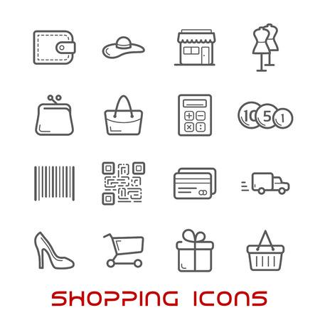Compras e iconos de líneas finas al por menor con los carros de compras, cesta y bolsas, tarjeta de crédito y la cartera, el dinero, la entrega, código de barras y almacenar, QR y caja de regalo, calculadora y zapatos
