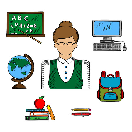 school computer: Teacher profession and education icons with woman in glasses surrounded by school supplies such as schoolbag, blackboard and desktop computer, globe and pen, pencil, books and apple
