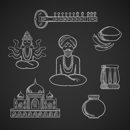 indian spices: Indian culture and religion icons with Taj Mahal and sitar, fresh chili pepper and chili powder, tabla drum and vase, God Vishnu, bearded man in turban and necklace in lotus pose Illustration