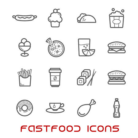 Restaurant and fast food thin line icons with pizza and sausage, burger and coffee cup, cake and chicken, tacho and ice cream, hot dog and french fries, donut and sushi, tea and soda, juice and popcorn Illustration