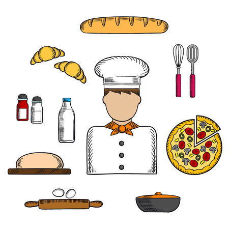 salt pepper: Baker profession icons with man in toque, pizza and baguette, croissant and milk, eggs and dough, chopping board and cutlery, salt, pepper and pot