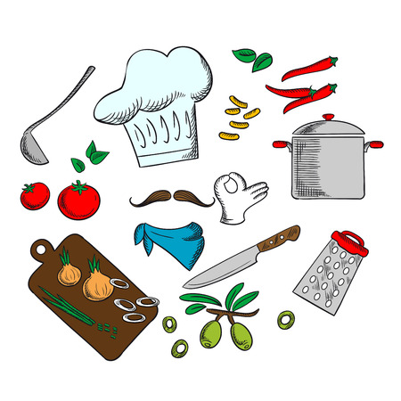 cooking chef: Chef cooking a vegetarian salad with tomato, onion, pepper, carrot and olive vegetables Illustration
