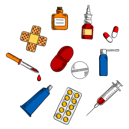 bottle nose: Medication, drug and pills icons with capsules and blister of pills, nose and throat spray, syringe, drops bottle and dropper, sticking plaster and ointment tube