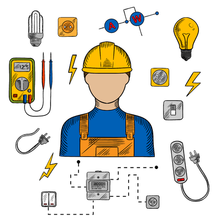 plug hat: Electrician profession icons with electric man in yellow hard hat, electrical household supplies, electric tools and equipments symbols. For industrial design usage