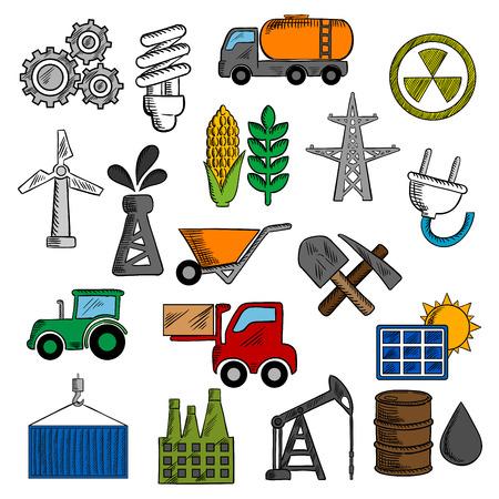 radiacion solar: Iconos de la industria y de la energía con la bomba de aceite y el barril, fábrica de la refinería y el tractor, el maíz y el trigo, la radiación, el panel solar, engranajes, el combustible y la bombilla, una pala y turbina de viento, plantas de electricidad