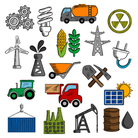 save icon: Industry and energy icons with oil pump and barrel, refinery factory and tractor, corn and wheat, radiation, solar panel, gears, fuel and light bulb, shovel and wind turbine, electricity plant