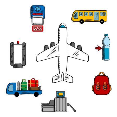 Iconos del aeropuerto, de aviación y de servicios de líneas aéreas con aviones rodeado de símbolos de control de pasaportes, detector de metales y puerta de seguridad, servicio de equipaje y autobús de pasajeros, equipaje de mano y beber Ilustración de vector
