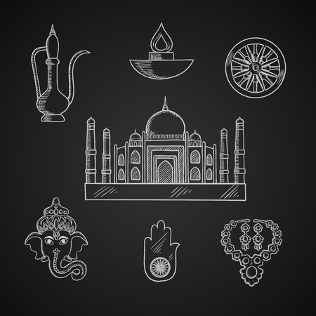 hand of god: Indian religion and culture symbols with Ganesha God, ashoka Chakra wheel and hamsa hand amulet, brass teapot and ethnic jewelry, Diwali lamp and Taj Mahal temple Illustration