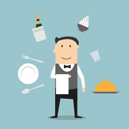 camarero: Camarero concepto profesi�n camarera en uniforme elegante, rodeado de juego de cena, champ�n y cubo de hielo, helado y pollo frito, bandeja de plata y cuenta del restaurante