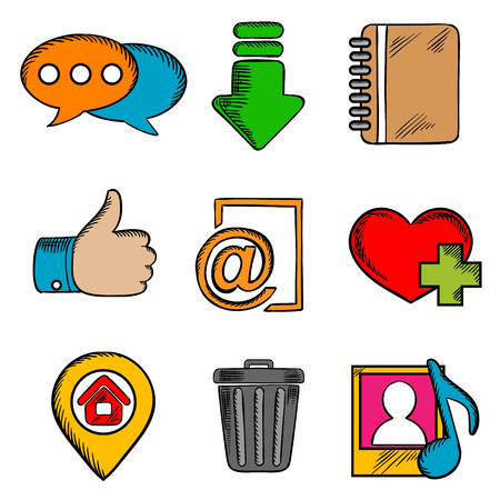 multimedia icons: Multimedia web icons set with chat, download, notebook, like, e-mail, home, favorite, media and bin symbols
