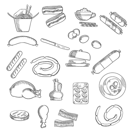 salami: Food, fast food and meat icons with eggs and butter, bacon and sausages, chicken noodles and chicken, oil and salami Illustration